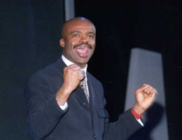 This image is of Kriss Akabusi MBE a speaker who may be booked through Parliament Speakers for public speaking engagements